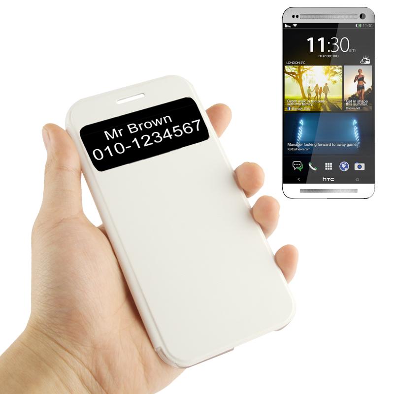 Δερμάτινη Θήκη με Παραθυράκι Sony HTC One M8 - Λευκή