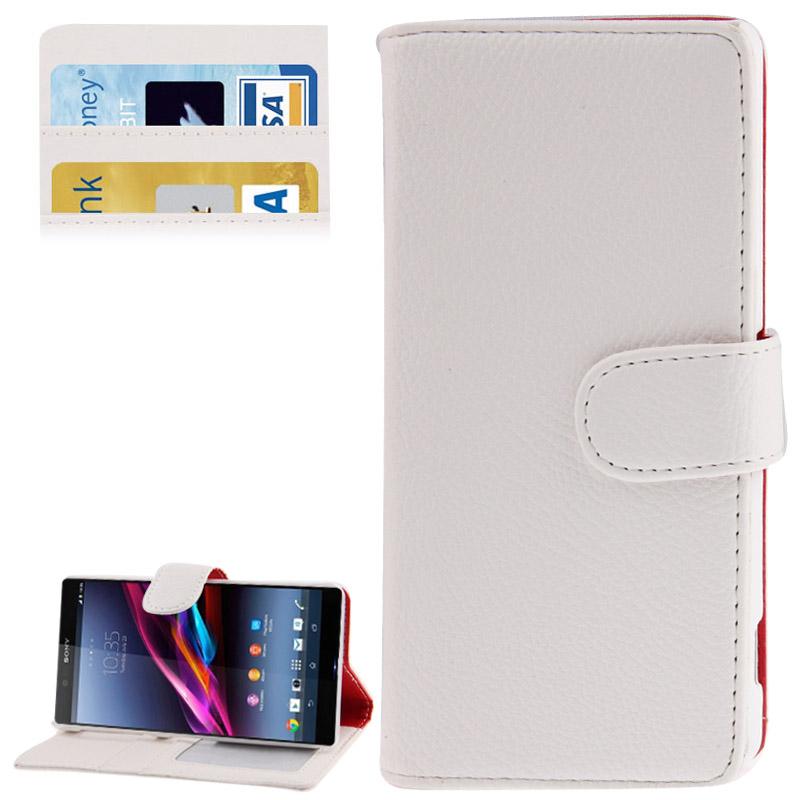 Δερμάτινη Θήκη-Πορτοφόλι Sony Xperia Z2- Λευκή
