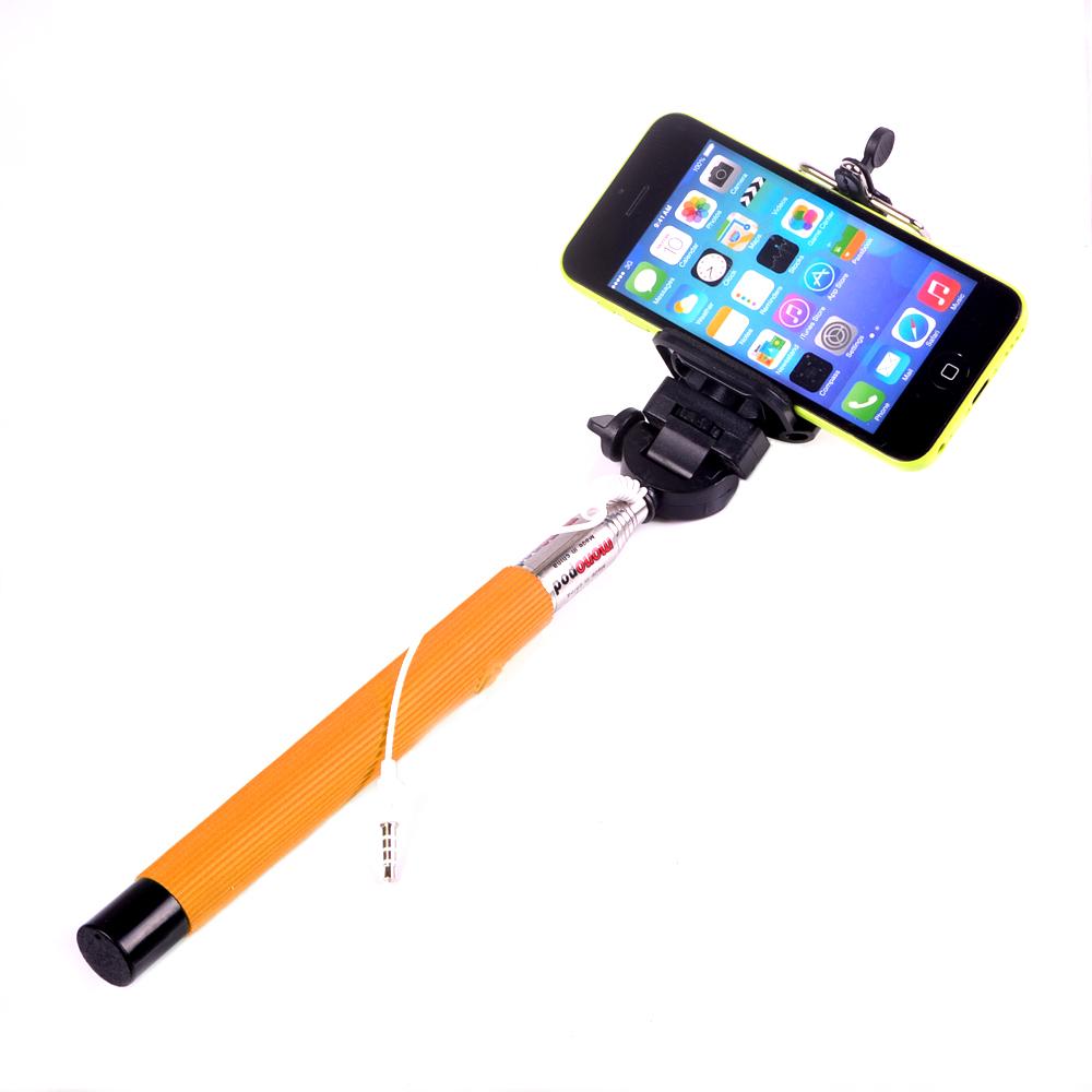 Πτυσόμενος Μονόποδας με Καλώδιο για Selfies Φωτογραφίες Πορτοκαλί OEM