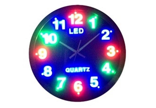Ρολόι Τοίχου Πολύχρωμο Led