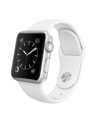 Apple Watch 38mm Silver Aluminium Case with White Sport Band MJ2T2FD/A EU