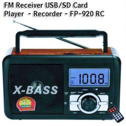 Φορητό ραδιόφωνο FM & Music Player - Recorder with USB/SD card - XBass Speaker FP-910-RC