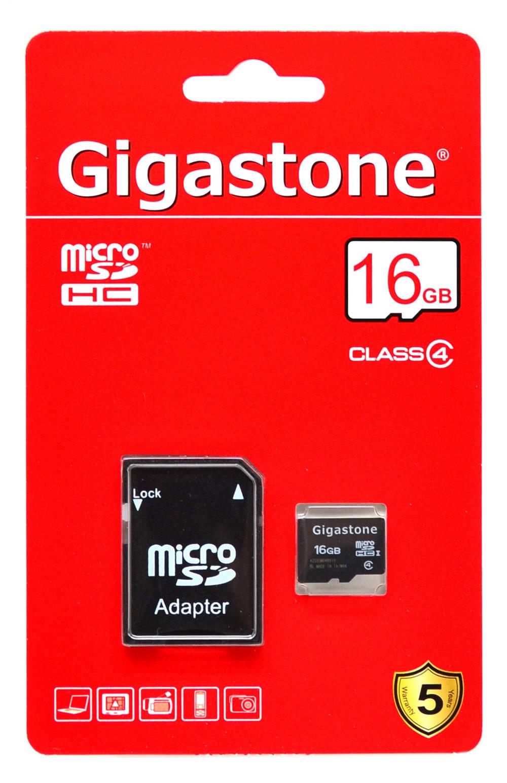 Κάρτα Μνήμης Gigastone MicroSDHC 16GB Class 4 με SD Αντάπτορα