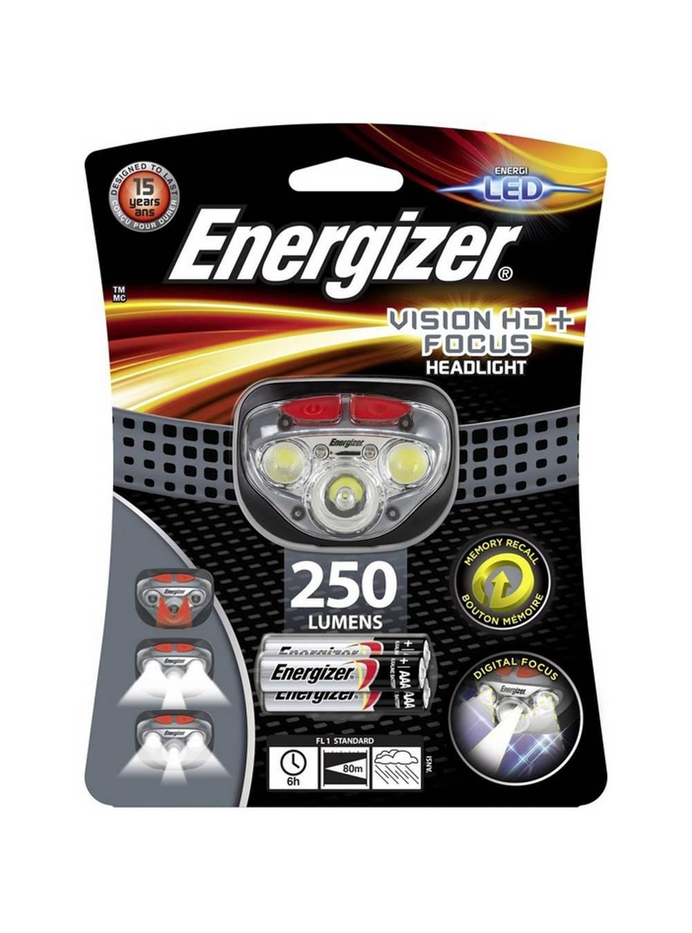 Φακός Κεφαλής Energizer Vision HD+ Focus 3 Led 300 Lumens με Μπαταρίες AAA 3 Τεμ. Γκρί
