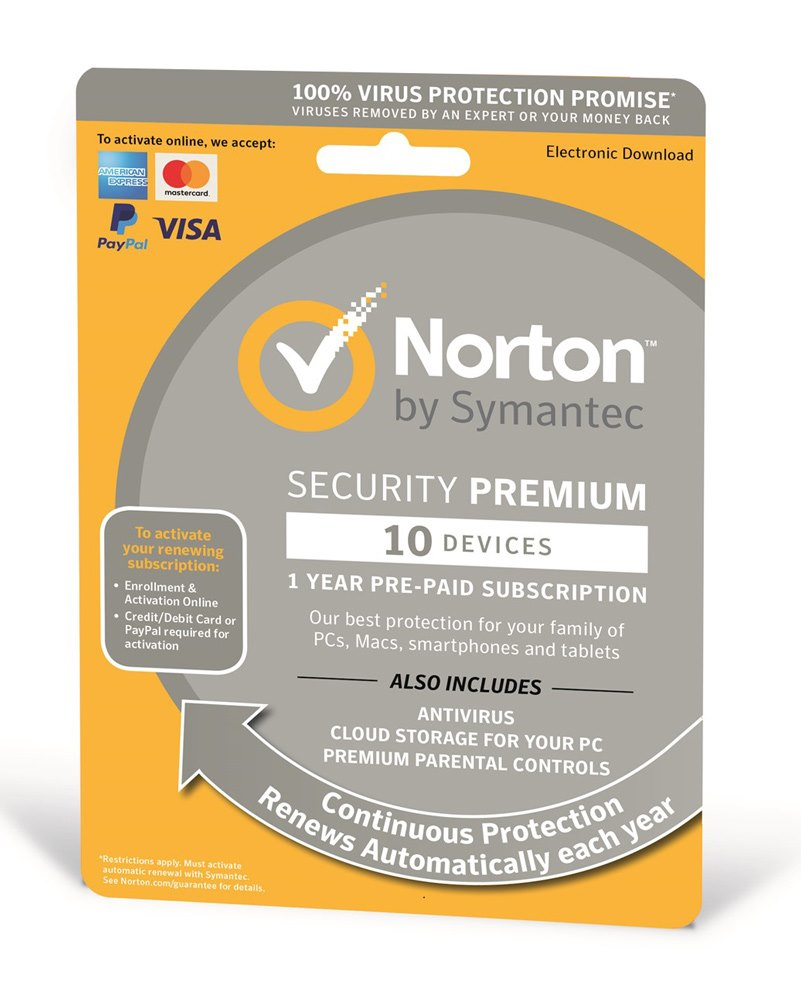 NORTON Security Premium 3.0, 10 συσκευές, 1 έτος, EU - NORTON 22754