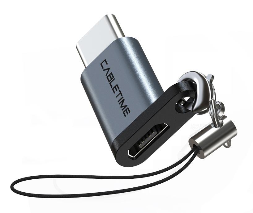 CABLETIME αντάπτορας USB Type-C σε USB 2.0 Micro B CMBF, 0.1m, γκρι - CABLETIME 37576