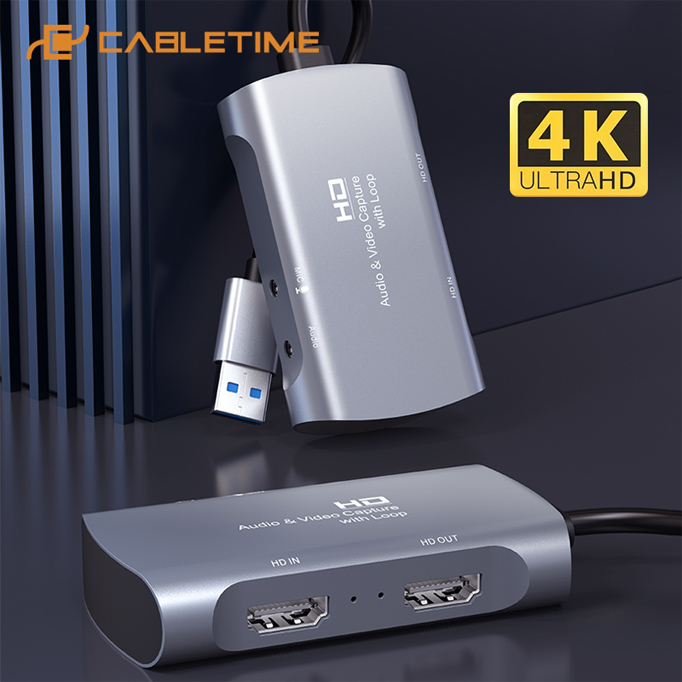 CABLETIME HDMI audio and video capture card with Loop HAVC, 4K - CABLETIME 37638