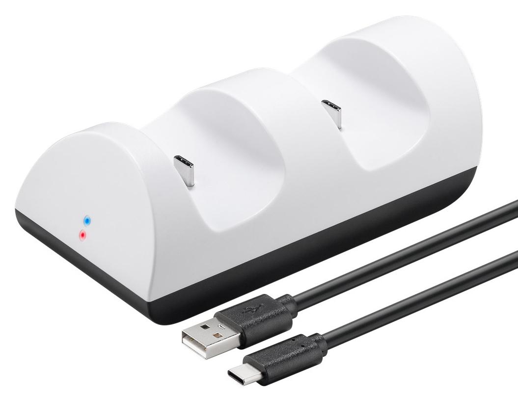 GOOBAY φορτιστής χειριστηρίου PS5 DualSense 52765, 2x output, λευκός - GOOBAY 35543