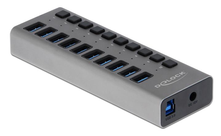 DELOCK hub 10x USB με διακόπτες 63976, USB 3.0, 5Gbps, LED, γκρι - DELOCK 39396