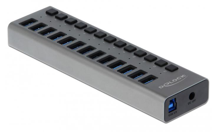 DELOCK hub 13x USB με διακόπτες 63977, USB 3.0, 5Gbps, LED, γκρι - DELOCK 39397