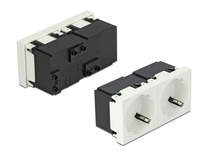 DELOCK διπλό module πρίζας ρεύματος Easy 45 81322, 45°, 45x45mm, 5τμχ - DELOCK 31117