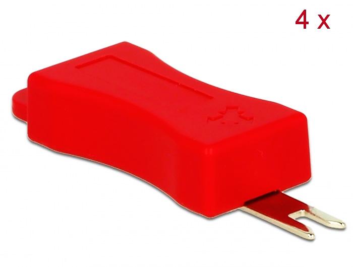 Delock Εργαλείο 86412 για τον σύνδεσμο ασφαλείας RJ45 4τμχ, κόκκινο - DELOCK 23774