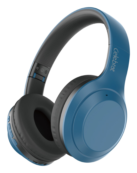 CELEBRAT headphones A24, wireless & wired, BT 5.0, 40mm, μπλέ - CELEBRAT 37063