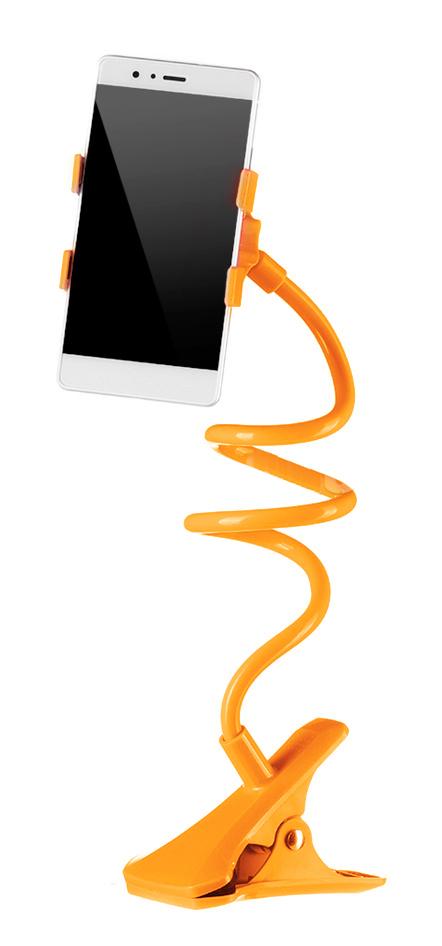 Universal Βάση σιλικόνης για Smartphone, clip holder, flexible, Orange - UNBRANDED 14933