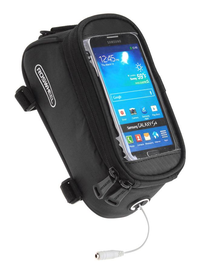 ROSWHEEL Τσάντα ποδηλάτου με θήκη τηλεφώνου, αδιάβροχη, Black - ROSWHEEL 15784