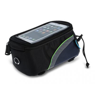 ROSWHEEL Τσάντα ποδηλάτου με θήκη τηλεφώνου, αδιάβροχη, Black/Green - ROSWHEEL 15785
