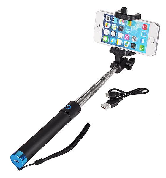 LOCUST Selfie stick, Bluetooth, 80cm, Blue - LOCUST 16352