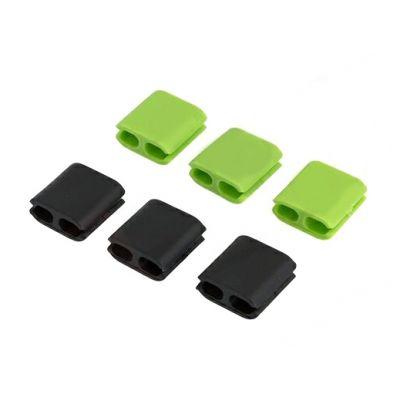 Οργανωτής καλωδίων σιλικόνης ACC-217, μαύρο-πράσινο - UNBRANDED 22045