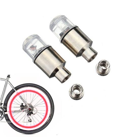Καπάκι βαλβίδας ποδηλάτου με φως, 2 τμχ, κόκκινο - UNBRANDED 29259