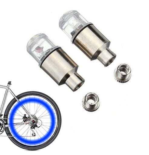 Καπάκι βαλβίδας ποδηλάτου με φως, 2 τμχ, μπλε - UNBRANDED 29260