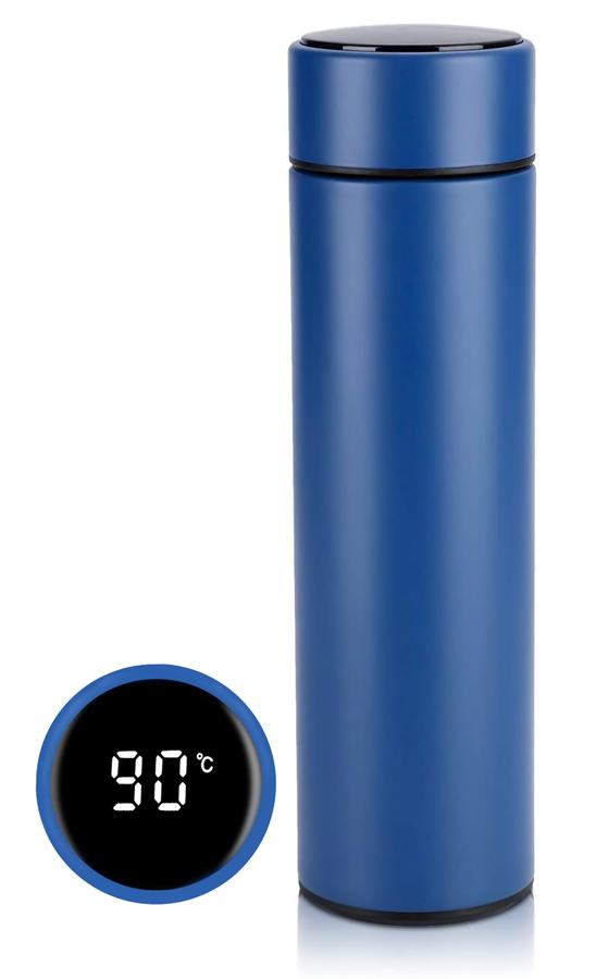 Θερμός AG285G με ένδειξη θερμοκρασίας, 500ml, μπλε - UNBRANDED 36911