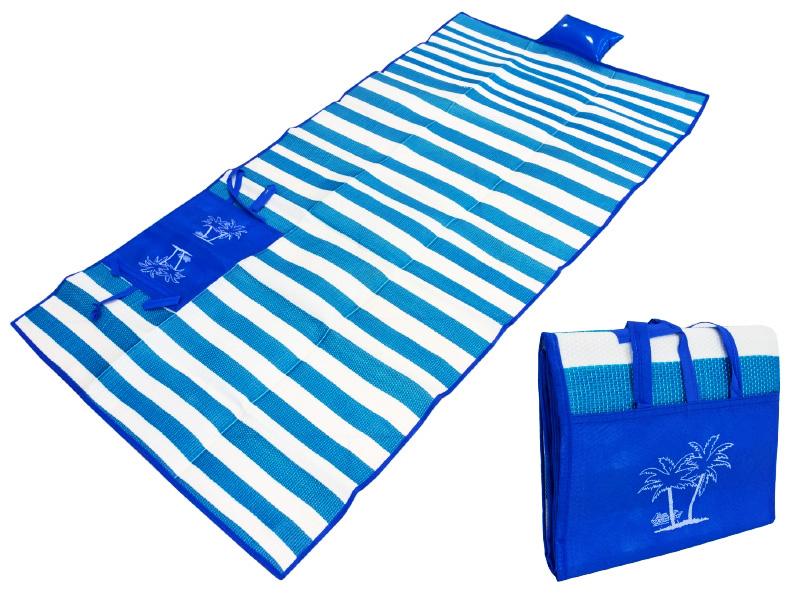 Ψάθα-τσάντα παραλίας AG366 με μαξιλάρι, αδιάβροχη, 175 x 90 cm, μπλε - UNBRANDED 24326