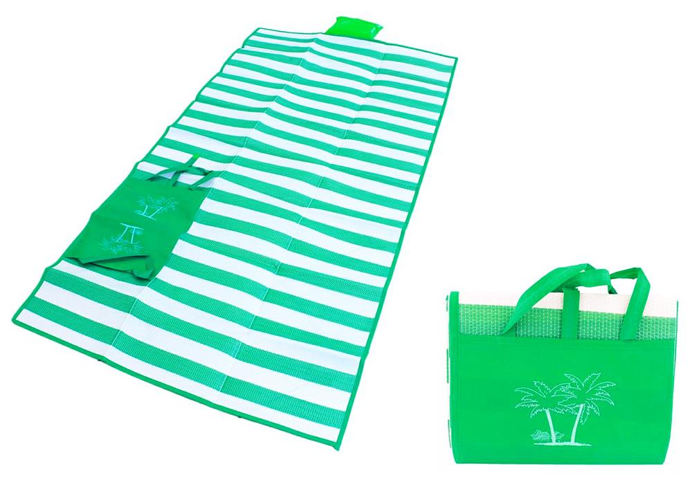 Ψάθα-τσάντα παραλίας AG366 με μαξιλάρι, αδιάβροχη, 175 x 90 cm, πράσινο - UNBRANDED 24328