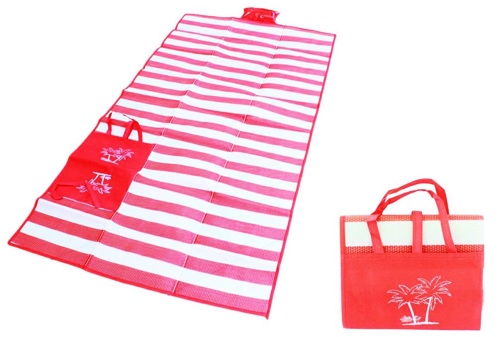 Ψάθα-τσάντα παραλίας AG366 με μαξιλάρι, αδιάβροχη, 175 x 90 cm, κόκκινο - UNBRANDED 24327