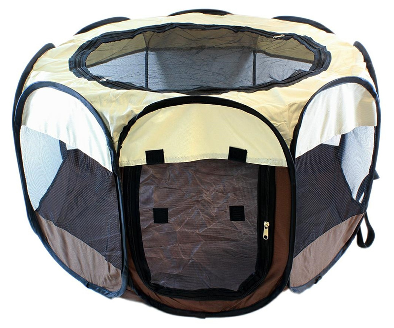 Πάρκο για κατοικίδια AG379A, με τσάντα μεταφοράς, 74x43cm, καφέ - UNBRANDED 42108
