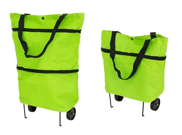Αναδιπλούμενη τσάντα αγορών με ρόδες AG392, πράσινη - UNBRANDED 27388