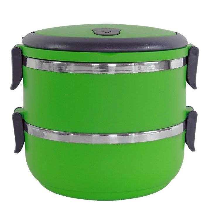Δοχείο φαγητού AG479A με επένδυση inox, σετ 2τμχ, πράσινο - UNBRANDED 27389