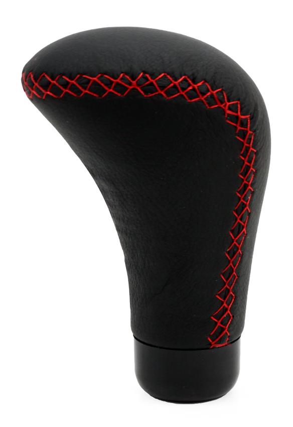 Μοχλός ταχυτήτων αυτοκινήτου Knob 01345, μαύρος με κόκκινες ραφές - AMIO 27255