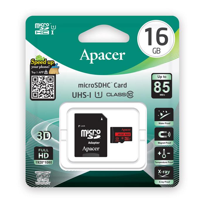 APACER Κάρτα Μνήμης Micro SDHC UHS-I U1 R85, 16GB, Class10 - APACER 10722