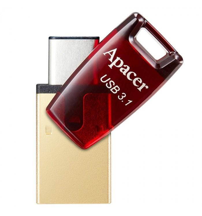 APACER USB Flash Drive AH180, USB 3.1 & Type-C, 32GB, Red - APACER 10728