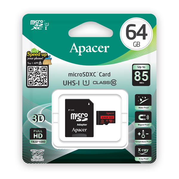 APACER Κάρτα Μνήμης Micro SDHC UHS-I U1 R85, 64GB, Class10 - APACER 10724