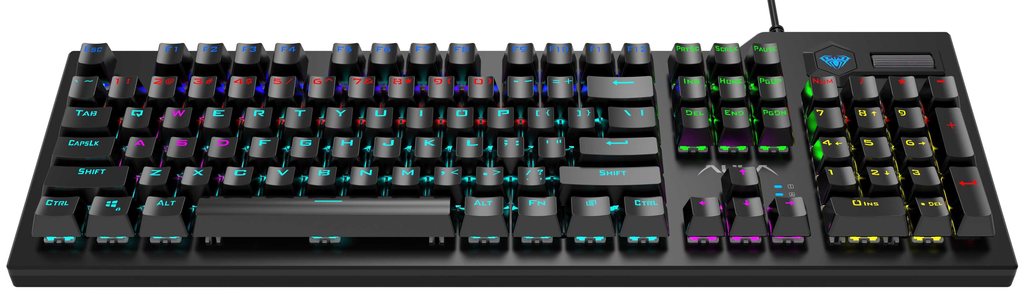 AULA μηχανικό πληκτρολόγιο AUL-F2063, RGB, blue switch, μαύρο-γκρι - AULA 36559
