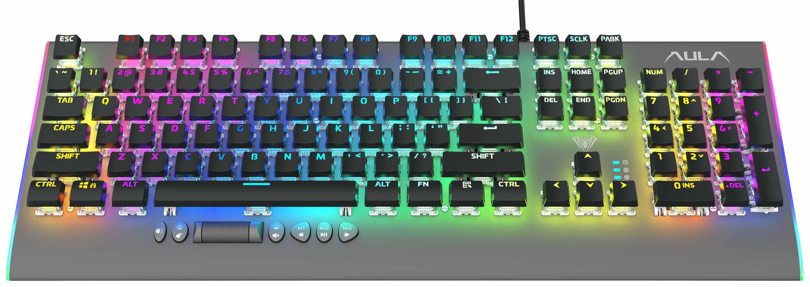 AULA μηχανικό πληκτρολόγιο F2099, RGB, μαύρο-γκρι - AULA 36560