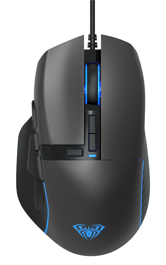AULA ενσύρματο gaming ποντίκι Wind F808, 4200DPI, 10 πλήκτρα, RGB, μαύρο - AULA 34368