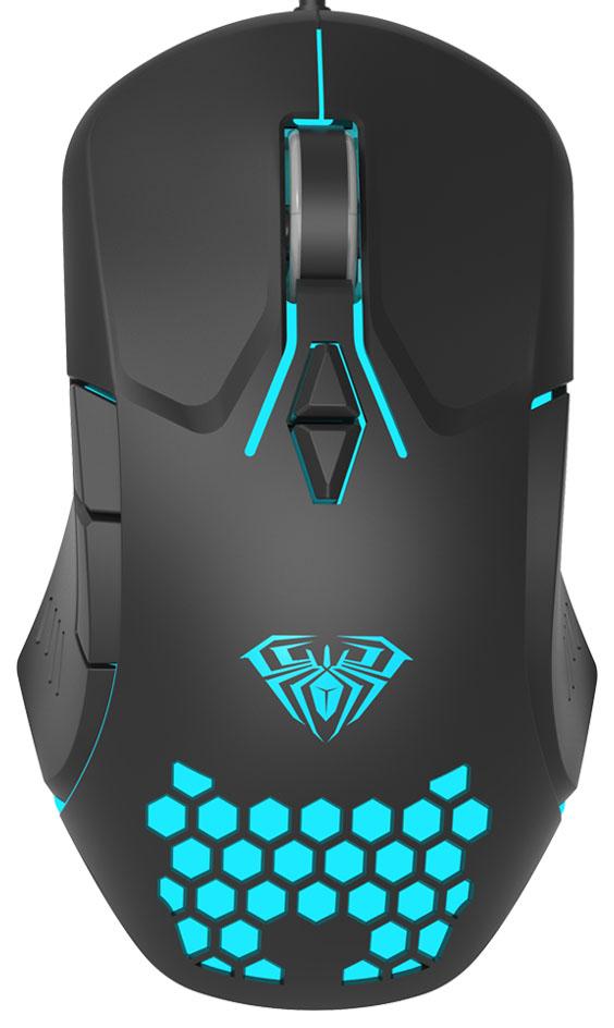 AULA ενσύρματο gaming ποντίκι Wind F809, 3200DPI, 7 πλήκτρα, RGB, μαύρο - AULA 34366
