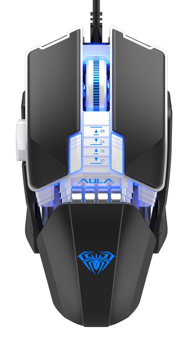 AULA ενσύρματο gaming ποντίκι Fire Η508, 4800DPI, 7 πλήκτρα, μαύρο - AULA 34369
