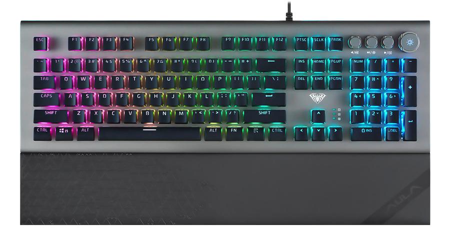 AULA Gaming πληκτρολόγιο Forest L2098, RGB, blue switch, μαύρο-γκρι - AULA 34354