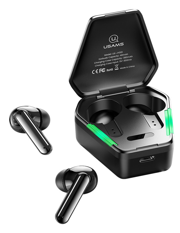 USAMS gaming earphones US-JY01 με θήκη φόρτισης, True Wireless, μαύρα - USAMS 37766