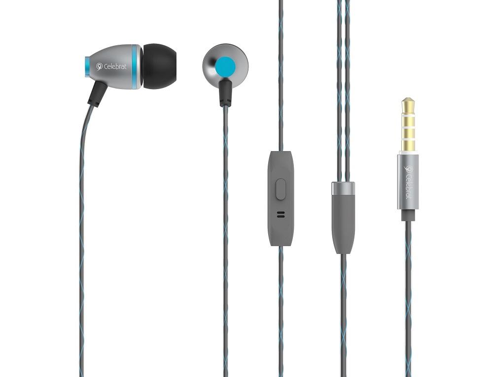 CELEBRAT Earphones με μικρόφωνο C3-BL, On-Off, Metal, μπλε - CELEBRAT 7121