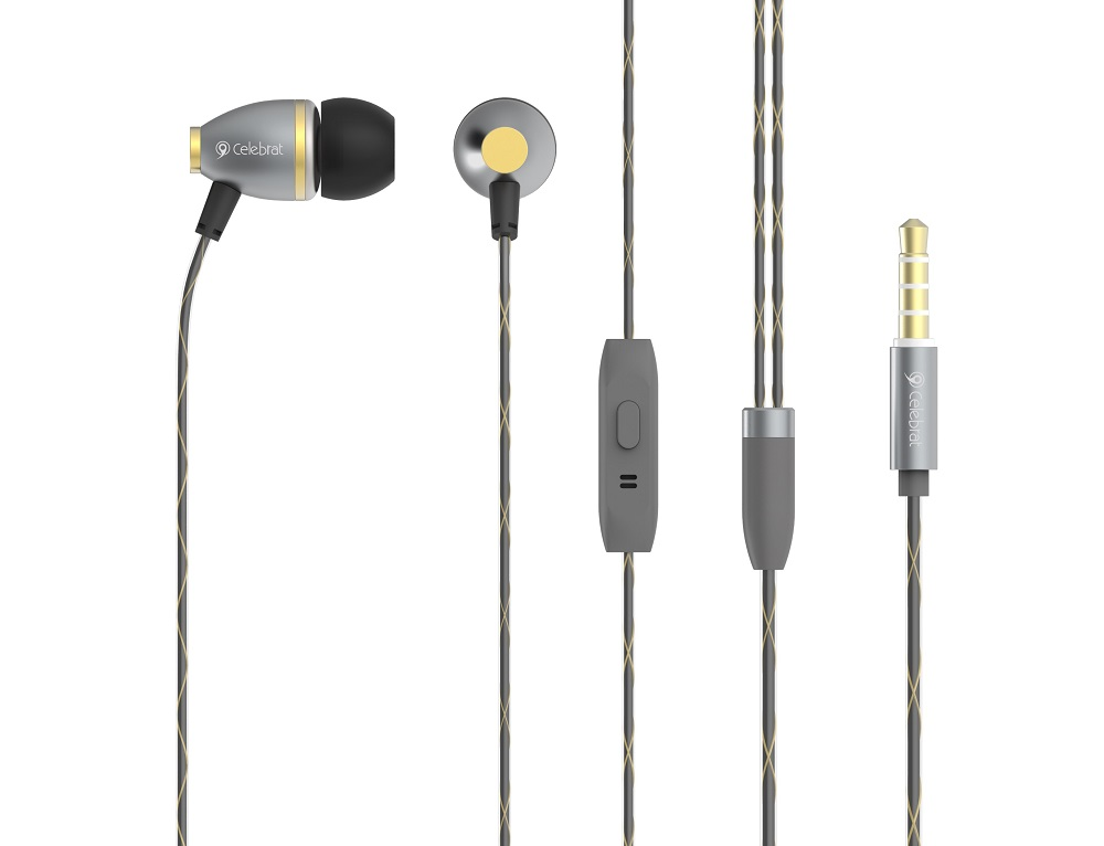 CELEBRAT Earphones με μικρόφωνο C3-BL, On-Off, Metal,  χρυσά - CELEBRAT 7120