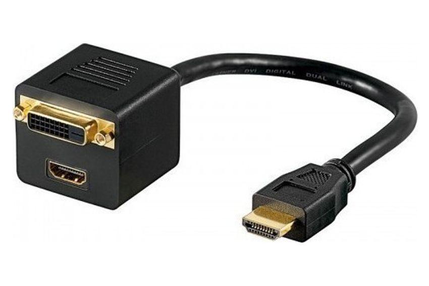 POWERTECH Μετατροπέας HDMI (M) σε DVI 24+1 & HDMI (F), 0.20m, μαύρος - POWERTECH 10620