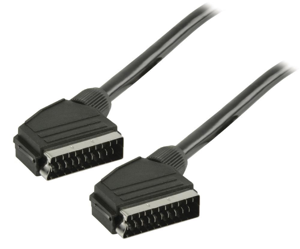 POWERTECH Καλώδιο Scart 21pin σε Scart 21pin, 1m, Black - POWERTECH 14971