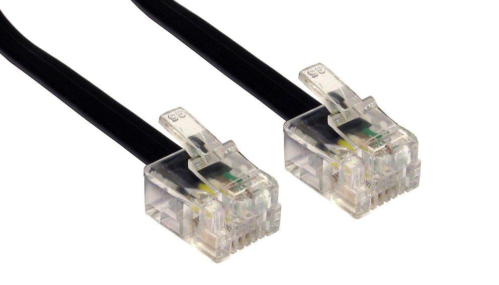 POWERTECH Καλώδιο Τηλεφώνου RJ11 6P4C, 1m, Black - POWERTECH 5066