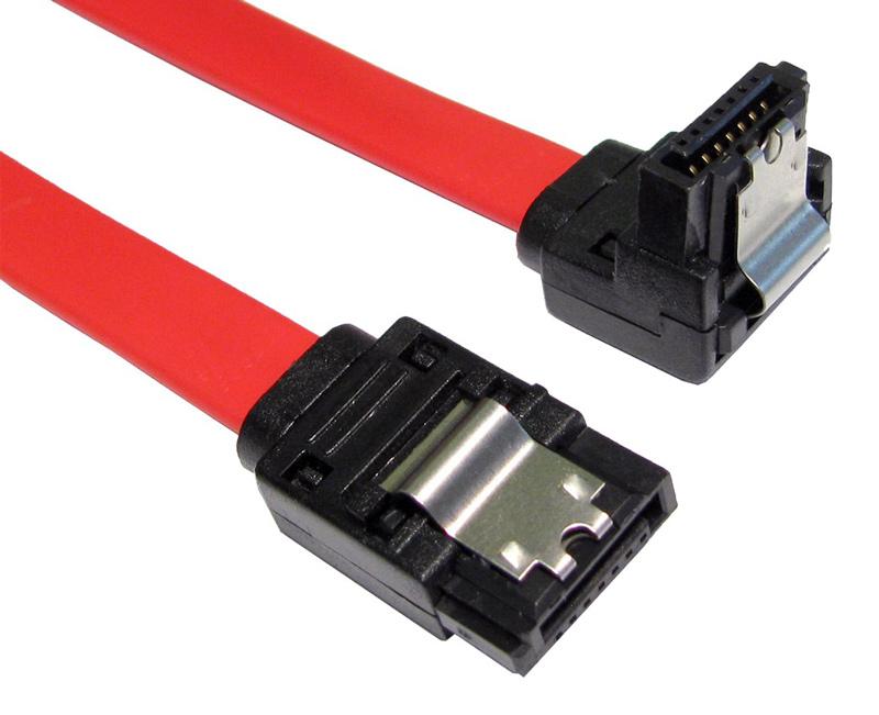 POWERTECH Καλώδιο SATA 7-pin σε 7-pin 90ο, Metal Clip, 0.5m - POWERTECH 15170