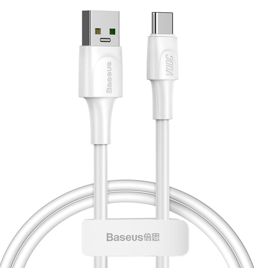 BASEUS καλώδιο USB σε USB Type-C CATSW-F02, VOOC, 5A, 1m, λευκό - BASEUS 32963