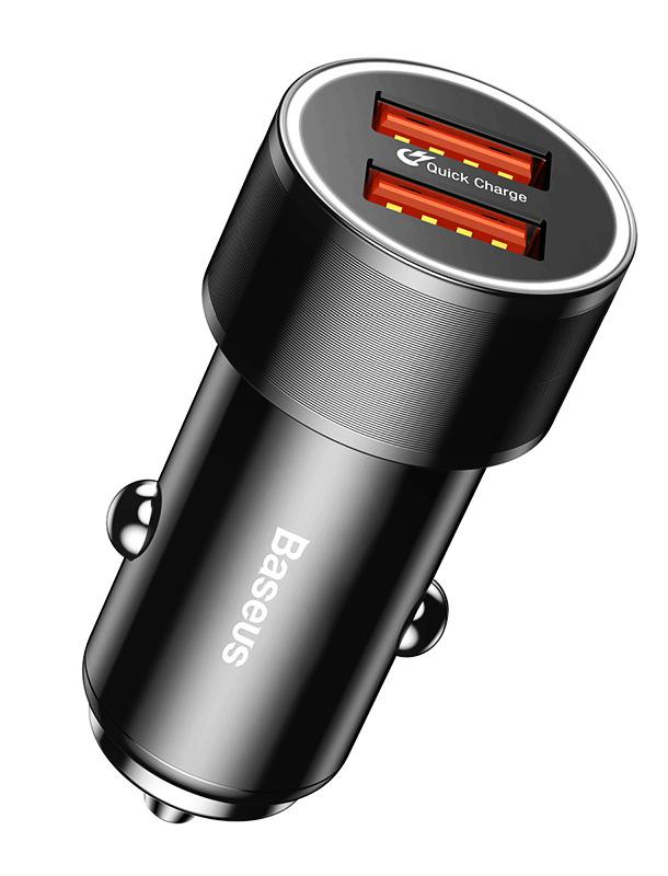 BASEUS φορτιστής αυτοκινήτου CAXLD-B01, 2x USB, 2.4A 36W, μαύρο - BASEUS 25451